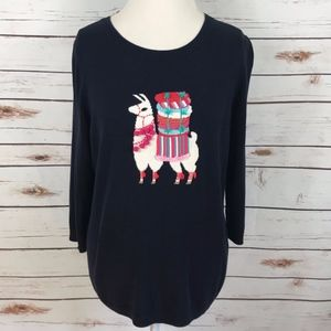 Talbots Navy Sweater Llama Embellished Pullover